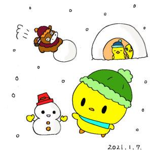 雪で遊んでいるぴよっきー