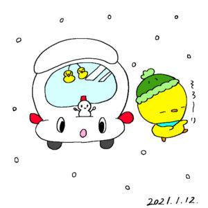 雪だるまを作ってキャスティの上に乗せたぴよっきー
