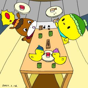 回転寿司を食べるぴよっきー
