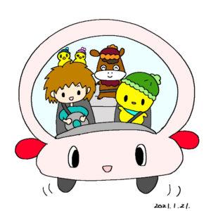 ドライブ中のぴよっきー